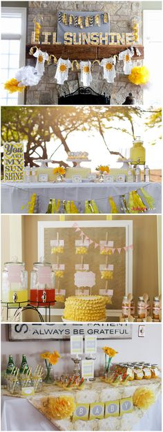 """Bring some of that long-awaited springtime sun indoors with a You Are My Sunshine themed party–perfect for your pregnancy announcement, baby shower, or sprinkle shower.! With bright and cheery yellow, baby-themed decor, and plenty of sugary snacks, this sunny & simple party idea will help make mom-to-be beat the """"I can't believe I'm having another baby"""" shock!"""