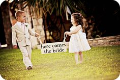 """I wanna do this.. then have one of the groomsmen hold up a sign saying """"and there goes the groom"""" have the groom running out! then after the bride makes it to a missing groom have him walk down the isle with one sayin """"just kidding!!"""""""