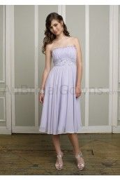 Taffeta Strapless Beaded Waistband Knee-length Bridesmaid Dress