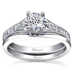 Barkev's 14K White Gold Three Stone Diamond Wedding Set Featuring 0.10 Carats Round Cut Diamonds and a Plain Wedding Band Style 7519S