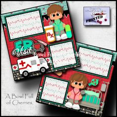 ER VISIT doctor 2 premade scrapbooking pages printed paper piecing layout Cherry Scrapbook Box, Baby Scrapbook Pages, Handmade Scrapbook, Baby Boy Scrapbook, Scrapbook Designs, Scrapbook Journal, Scrapbook Page Layouts, Scrapbooking Ideas, Baby Book Pages