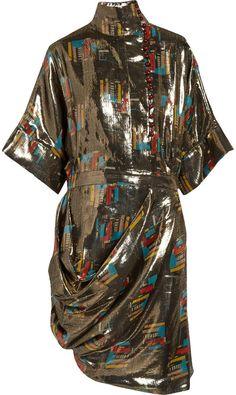 J.W.Anderson Printed Silk and Lurex-Blend Lamé Dress