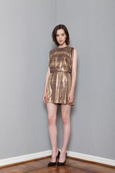 Wren | Resort 2015 | 08 Gold/brown snake-printed sleeveless mini dress