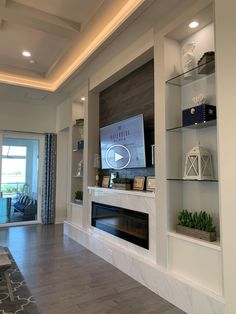 Feature Wall Living Room, Living Room Built Ins, Living Room Wall Units, Living Room Tv Unit Designs, Living Room Modern, Home Living Room, Tv Wall Unit Designs, Fireplace Feature Wall, Tv Feature Wall