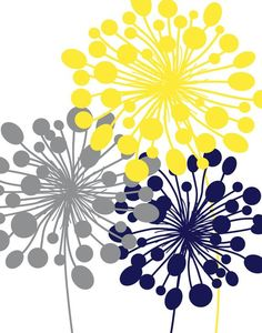 Abstract Floral Dandelion Art Prints Set of 57 10 or 1114 // Grey Yellow Navy // Modern Flower Home Wall Art Decor Unframed Abstract Wall Art, Canvas Wall Art, Wall Art Prints, Home Wall Art, Wall Art Decor, Dandelion Art, Grey Yellow, Allium, Dandelions