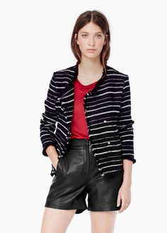 Striped textured jacket at MANGO. Love this look!
