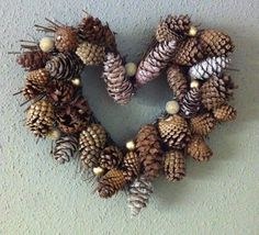Items similar to Wreath loaded with Pine Cones - Rustic Christmas Heart-Shaped Wreath SALE ITEM on Etsy Christmas Hearts, Christmas Makes, Country Christmas, White Christmas, Christmas Fun, Christmas Wreaths, Christmas Decorations, Xmas, Pine Cone Art