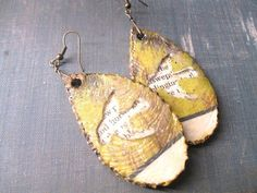 First Anniversary Gift - Paper Jewelry - Rustic Woodland Earrings
