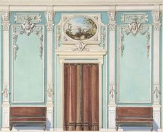 Interior Design with a Central Door with Brown Curtains Flanked by Benches, against an Aquamarine Wall, with an Overdoor Painting Poster Print by Anonymous, British, 19th century (18 x 24)