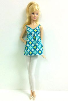 Blue Retro Print Top  for Model Muse Barbie by SKSungDesigns