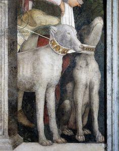 Detail from Meeting Wall, 1465-1474, by Andrea Mantegna (1431-1606), fresco, San Giorgio Castle, Wedding Chamber or Camera Picta, Mantua, Italy
