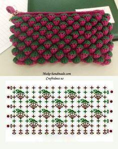 """Point de Crochet """"Strawberry"""" - Tutorials - Crochet et plus.Crochet et plus… Crochet Diy, Crochet Pouch, Crochet Gratis, Crochet Motifs, Crochet Diagram, Crochet Stitches Patterns, Crochet Chart, Crochet Bags, Tutorial Crochet"""
