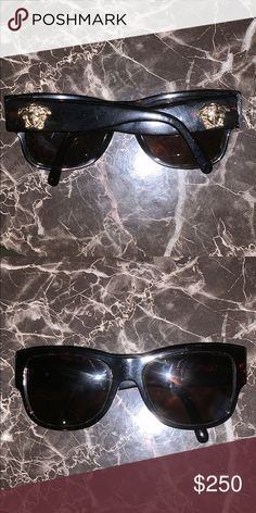 08e73e2a Shop Women's Versace Brown Gold size OS Other at a discounted price at  Poshmark. Description: Black an brown Polaroid Versace shades.