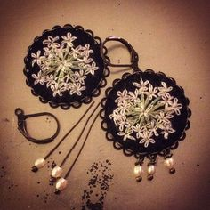 Embroidered earrings by Barbara Schar. So pretty!