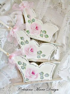 Rose Sleds 3pc Set Cottage Roses Hand by CelestinaMarieDesign