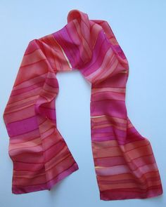 """""""Sunset Stripes"""" - Hand-dyed Silk Scarf"""