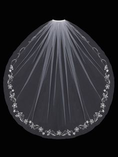 Beautiful and affordable! Fingertip Wedding Veil With Beaded Embroidery - Affordable Elegance Bridal -