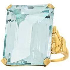 Tiffany & Co. Retro 1940s 20 Carat Aquamarine gold cocktail Ring