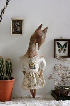 Little Wolf Beth- ooak textile artdoll soft sculpture wall hanging