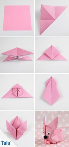 Origami Bunny folding - Folding guide for a paper bunny, Instructions - Origami Rabbit - talu. Origami 3d, Origami Ball, Design Origami, Origami Simple, Origami Paper Folding, Origami Artist, Origami Star Box, Origami Dragon, Origami Butterfly