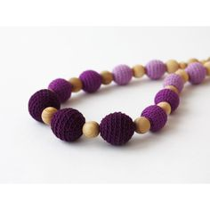 Purple ombre necklace Nursing necklace Wooden crochet necklace ($22) ❤ liked on Polyvore featuring jewelry and necklaces