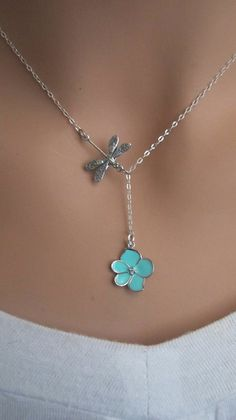 of JULY SALE Dragonfly and Aqua Orchid Flower with CZ sterling silver lariat necklace. Cute Jewelry, Beaded Jewelry, Unique Jewelry, Artisan Jewelry, Handcrafted Jewelry, Fashion Necklace, Fashion Jewelry, Lariat Necklace, Turquoise Jewelry