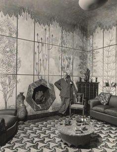 Piero Portaluppi in his 'casa degli Atellani', 1957. http://skyminoshouse.blogspot.co.uk/2011/03/un-genio.html