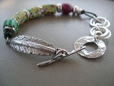 SALE  African Trade Bead Bracelet  Tribal by SimpleeSilver on Etsy, $98.00