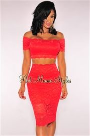 Red Lace Off-The-Shoulder Two Piece Set