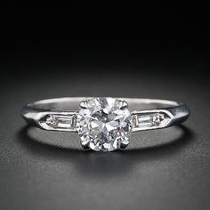 .70 Carat Late Art Deco Diamond Engagement Ring - 10-1-4216 - Lang Antiques    Carat Weight:      0.70 cts  Measurements:      5.81 x 5.99 x 3.22 mm  Cut/Shape:      Round Brilliant  Clarity:      SI1  Color:      G  Grading Report:      GIA    Total Diamond Carat Weight:      0.70 cttw  Make it a princess cut diamond and I'm sold!