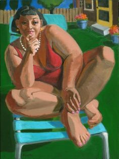 Snapshot, contemporary figurative painter, modern figure painting, woman, girl in pearls, painting by artist Marie Fox