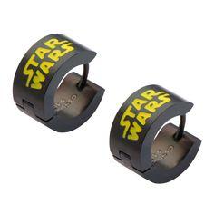 Star Wars: Black PVD Logo Huggie Earrings 316 Stainless Steel