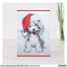Cute Puppy Santa Sketch Card Christmas Puppy, Kids Christmas, Christmas Stuff, Pet Gifts, Kids Gifts, Christmas Greetings, Christmas Cards, Cute Puppies, Dogs And Puppies