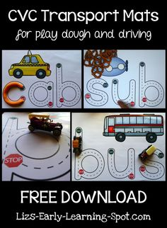 CVC Transport Mats for Play Dough and Driving! - Liz's Early Learning Spot CVC Transport Mats for Play Dough and Driving! Kindergarten Literacy, Early Literacy, Literacy Activities, Literacy Centers, Abc Centers, Preschool Curriculum, Language Activities, Teaching Resources, Homeschooling
