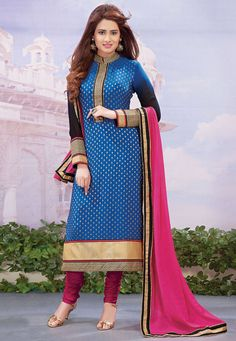 #Blue Faux Georgette Jacquard #ChuridarKameez