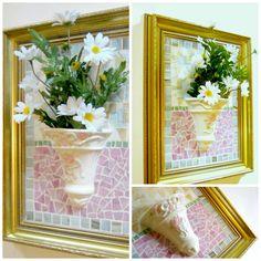 Mixed Media Mosaic Wall Pocket! https://www.etsy.com/listing/229649619/mosaic-wall-pocket-framed-pink-white?ref=shop_home_active_1