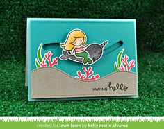 the Lawn Fawn blog: Lawn Fawn Intro: Slide On Over & Mermaid For You card by Kelly Marie Alvarez.