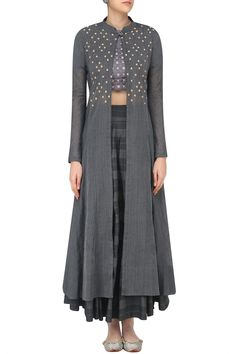Grey embroidered layered style blouse, jacket and skirt set available only at Pernia's Pop Up Shop.
