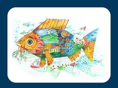 Memory Fishes on Behance Watercolor Illustration, Watercolour, Behance, Memories, Illustrations, Fish, Cards, Pen And Wash, Memoirs