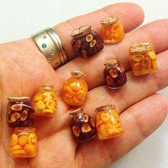 Miniature fruit jars #miniaturefood #miniaturefruit