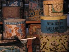Vintage hat boxes make such eye pleasing storage options, especially if you theme them.