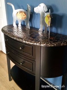 upcycled tin can lid table top cover up episode 4 of dogs vs cats, living room ideas, painted furniture, repurposing upcycling, rustic furniture
