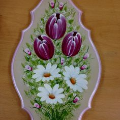 Tulips and daisies Tulip Painting, One Stroke Painting, Painting Tips, Fabric Painting, Painting On Wood, Painting Flowers, Mosaic Patterns, Painting Patterns, Paint Cards