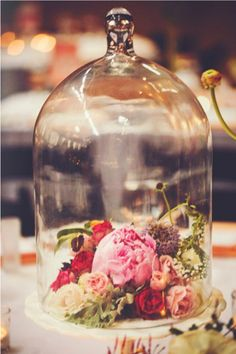 Reminiscent of a red rose in a bell jar... Disney inspiration #flowerarrangements #wedding #AstleyClarke