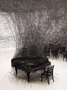 DENADA - Yarn installation by Chiharu Shiota