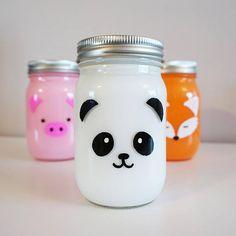 This item is unavailable - Animal Mason Jar 1 painted mason jar panda jar fox jar - Diy Crafts For Girls, Diy Crafts Hacks, Diy Home Crafts, Diy Arts And Crafts, Cute Crafts, Diys, Sewing Crafts, Painted Mason Jars, Mason Jar Diy