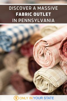 If you're a crafter or sew your own clothing, you're going to love Zinck's! The popular fabric outlet in Pennsylvania boasts a giant collection of fabrics including fleece, flannel, knits, and wool. #DIY Fabric Outlet, Vacation Destinations, Roads, Pennsylvania, Knits, Travel Inspiration, Flannel, Road Trip, Fabrics