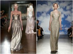 Wedding Inspiration, Metallic Wedding Dresses Johanna Johnson 2014 Muse collection and Jenny Packham 2015 collection. http://www.pierrecarr.com/blog/2014/06/wedding-inspiration-cfda-fashion-awards-2014/ #PierreCarr #MetallicWeddingDresses