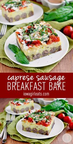 Caprese Sausage Breakfast Bake is an incredibly easy and satisfying ...