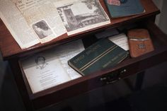 Charlotte Brontes writing desk on display at the Bronte Parsonage Museum on February 8, 2012 in Haworth, England
